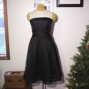 Vintage 90s Does 50s Black Strapless Cocktail Gown